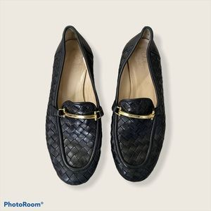 Cole Haan Black Woven Leather Loafers
